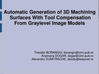 Automatic Generation of 3D Machining  Surfaces With Tool Compensation From Graylevel Image Models