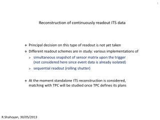 Reconstruction of continuously readout ITS data
