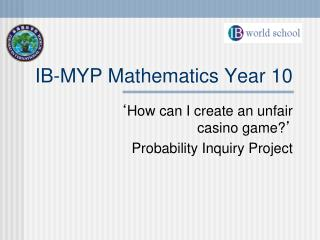 IB-MYP Mathematics Year 10