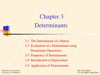 Chapter 3 Determinants