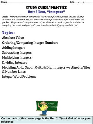 "Study guide/ practice Unit 2 Test, ""Integers"""