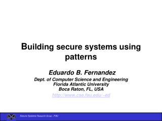 Building secure systems using patterns