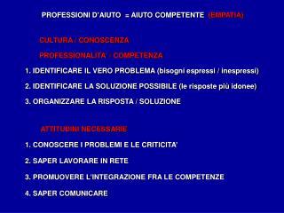 PROFESSIONI  D'AIUTO   = AIUTO COMPETENTE   (EMPATIA)