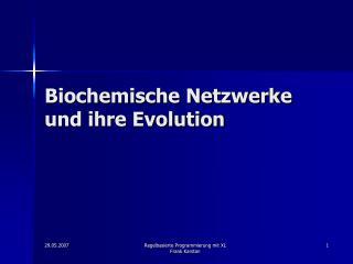Biochemische Netzwerke und ihre Evolution