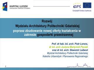 Prof. dr hab. inż. arch. Piotr Lorens,  dr inż. arch  Justyna Martyniuk-Pęczek