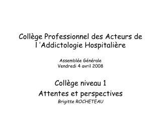 Collège niveau 1 Attentes et perspectives  Brigitte ROCHETEAU