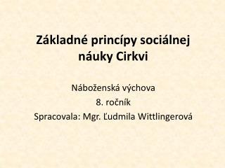 Základné princípy sociálnej náuky Cirkvi