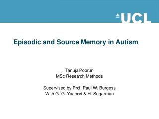 Episodic and Source Memory in Autism