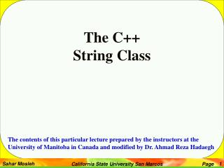 The C++  String Class