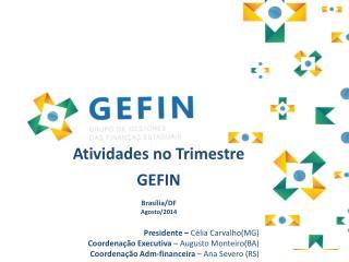 Atividades no Trimestre GEFIN  Brasília/DF Agosto/2014 Presidente –  Célia Carvalho(MG)