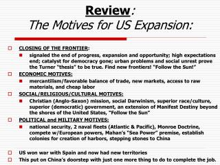 Review : The Motives for US Expansion: