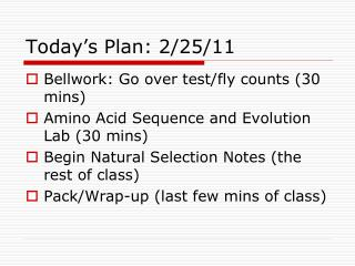 Today's Plan: 2/25/11