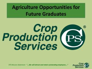 Agriculture Opportunities for Future Graduates