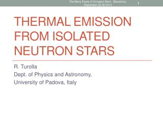 Thermal Emission from Isolated Neutron Stars