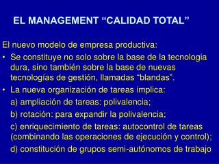 """EL MANAGEMENT """"CALIDAD TOTAL"""""""