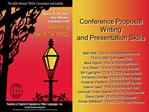 Conference Proposal Writing and Presentation Skills