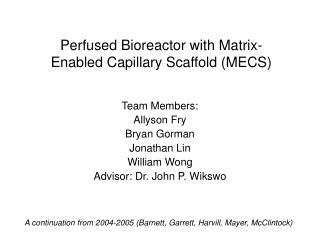 Perfused Bioreactor with Matrix-Enabled Capillary Scaffold (MECS)
