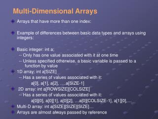 Multi -Dimensional Arrays