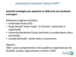 International Summer School-UAB CEI