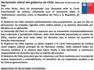 Declaraci�n oficial del gobierno de Chile Mi�rcoles 16 de enero de 2008