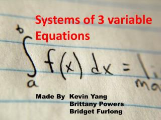 Systems of 3 variable Equations