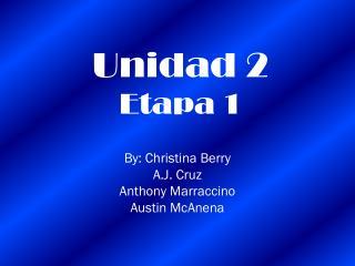 Unidad 2 Etapa 1