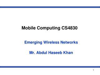 Mobile Computing CS4830