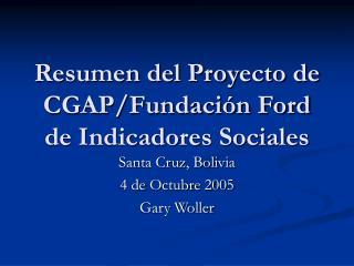 Resumen del Proyecto de CGAP