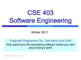 CSE 403 Software Engineering
