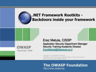 Framework Rootkits - Backdoors inside your framework