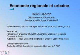 Economie régionale et urbaine