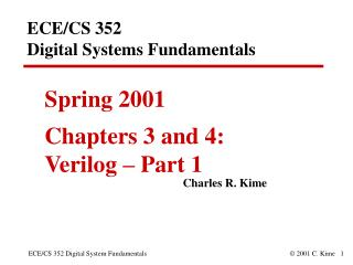 ECE/CS 352  Digital Systems Fundamentals