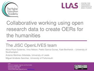 Collaborative working using open research data to create OERs for the humanities
