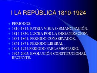 I LA REPÚBLICA 1810-1924