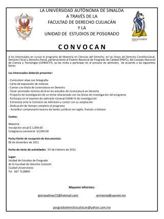 CONVOCATORIA MAESTRIA2012