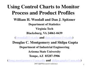 Using Control Charts to Monitor Process and Product Profiles