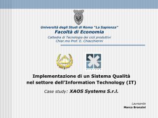Implementazione di un Sistema Qualità nel settore  dell'Information Technology (IT)