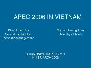 CHIBA UNIVERSITY, JAPAN 14-15 MARCH 2006