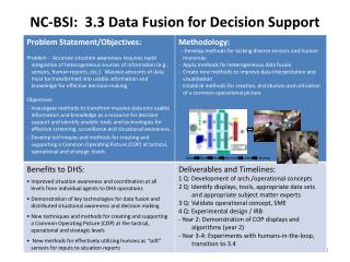 NC-BSI:  3.3 Data Fusion for Decision Support