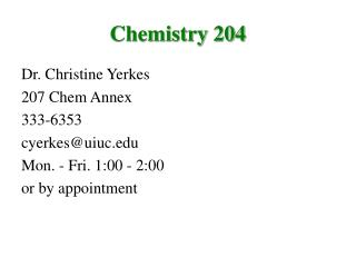 Chemistry 204