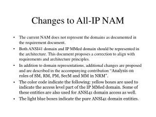 Changes to All-IP NAM