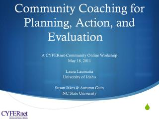 Community Coaching for Planning, Action, and Evaluation