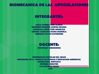 BIOMECANICA DE LAS  ARTICULACIONES INTEGRANTES: AVILA FORERO RUBI ALEIDA