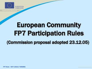 European Community  FP7 Participation Rules