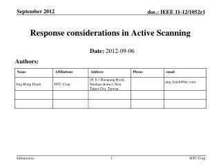 Response considerations in Active Scanning