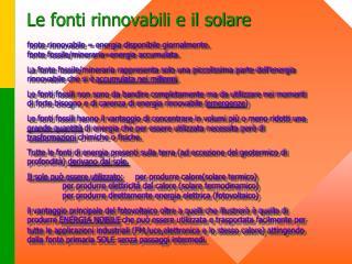 Le fonti rinnovabili e il solare