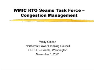 WMIC RTO Seams Task Force – Congestion Management
