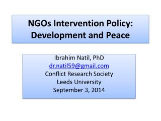 NGOs Intervention Policy: Development and Peace