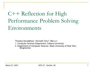 C++ Reflection for High Performance Problem Solving Environments