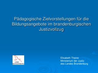 Pädagogische Zielvorstellungen für die Bildungsangebote im brandenburgischen Justizvollzug